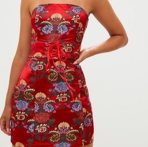 Prettylittlething Red Oriental Dress Size 8